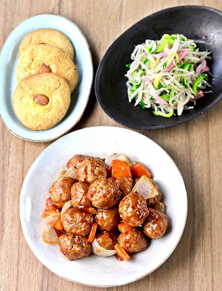2020年3月料理教室 肉団子仕立ての黒酢あんかけ酢豚、中華和え、クッキー